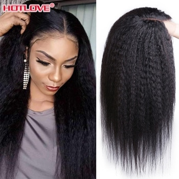 Middle Part Peruvian Kinky Straight Lace Front Human Hair Wigs 13x1 Lace Frontal Wigs 28 inches Remy Hair Wig 180% Density