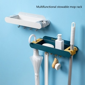 Punch-free Mop Holder Towel Rack Wall Mounted Storage Tray with Hooks for store Bathroom Supplies, Kitchen Utensils