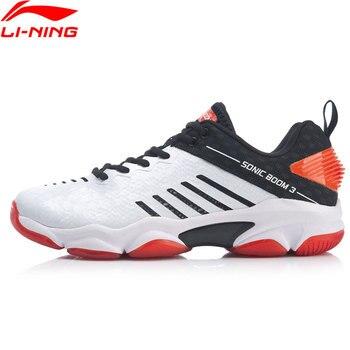 Мужская обувь для бадминтона Li-Ning SONIC BOOM 3,0, профессиональная обувь для бадминтона с углеродной подкладкой, спортивная обувь li ning AYZP009