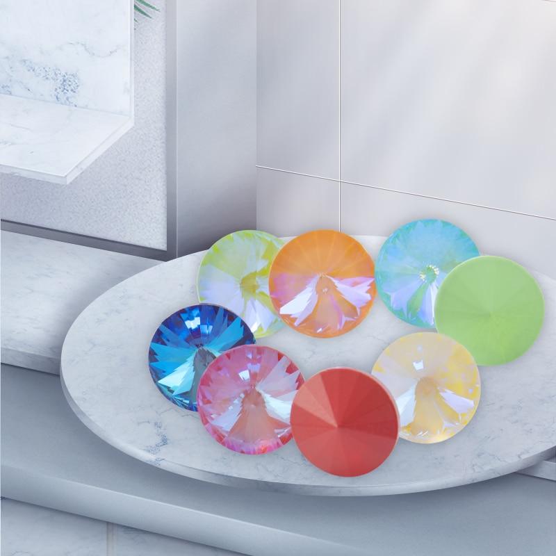 Rivoli Round Shape Moka MI Rhinestones Crystal K9 Glass for Jewelry Making Pointback Crystal for Craft Glue on Clothing Garment