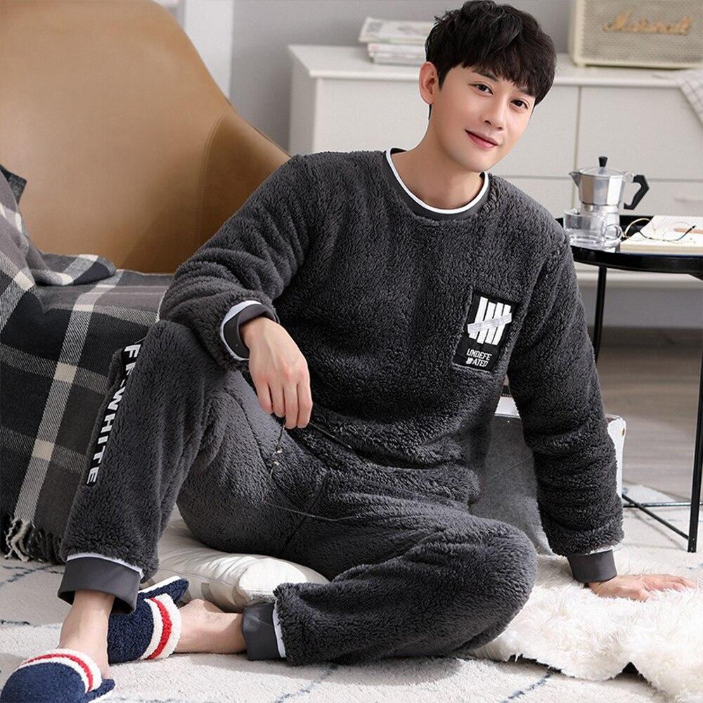 Пижама мужская зима фланель одежда для сна костюм толстый теплый коралловый флис пижамы комплекты для мужчин повседневный пэчворк мультфильм пижама дом одежда