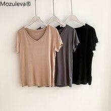 Mozuleva 2021 Summer Casual V-neck Solid Color Women T-shirt Short Sleeve Loose Female Basic Tops Shirt Ladies Tees 100% Cotton