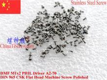 Vis acier inoxydable M1x2 DIN 965   Vis plates, tête CSK 00 # Philips Driver 100 poli pièces ROHS
