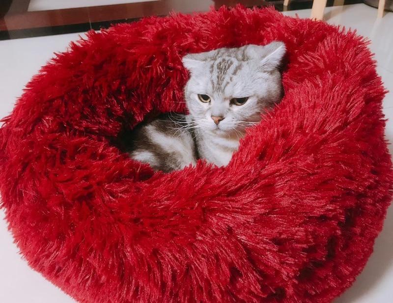 Cama de perro mascota Cama de Gato sueño profundo peluche redondo perro nido de gato perrera Otoño e Invierno almohadilla para nido de mascotas Cama de Gato suministros de invierno