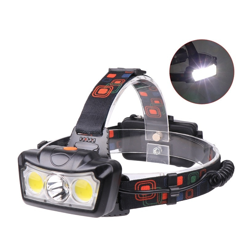 Hbu super brilhante led farol t6 cob led farol cabeça lâmpada lanterna tocha cabeça luz uso 2*18650 bateria de acampamento