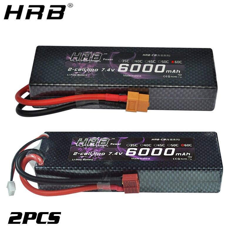 2PCS HRB 2S 7.4V 6000mah 60C Lipo Battery RC Parts Hard Case T XT60 Deans EC5 XT90 For Traxxas TRX4 Buggy Cars FPV Airplane Boat