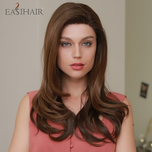 EASIHAIR Dark Brown Long Synthetic Lace Front Wavy Wig with Baby Hair Cosplay High Density Wigs for Black Women Heat Resistant