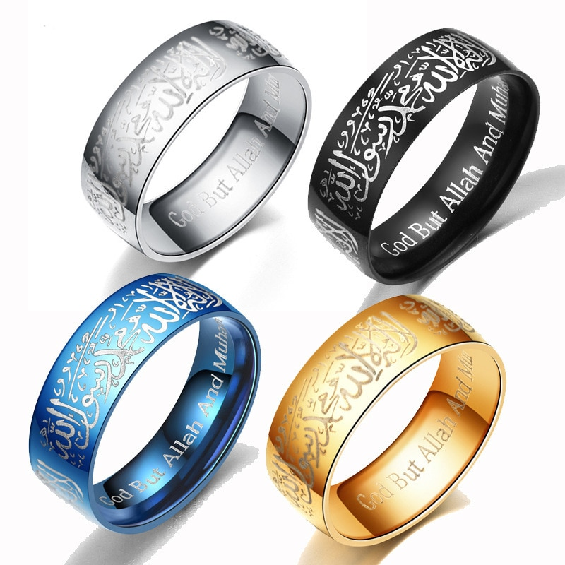 Fashionable Men's Ring Western Style Stainless Steel Ring Jewelry Scripture Letter Ring Fashion Temperament All-match Ring