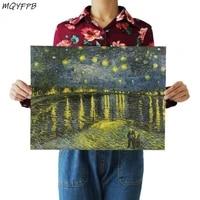 Peinture de Van Gogh la nuit etoilee sur le Rhone  affiche Kraft  decoration de la maison  autocollant mural de salle