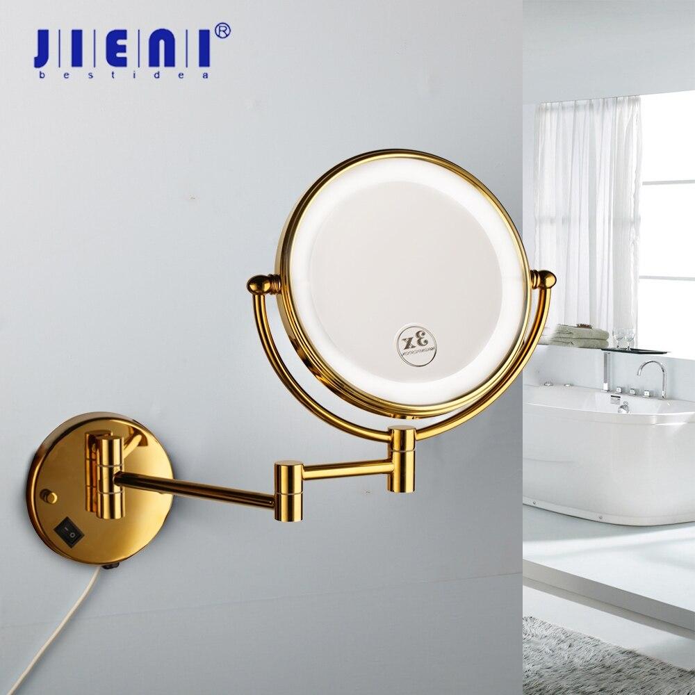 JIENI الذهبي مطلي 3X المكبرة الصمام ضوء الجمال ماكياج مرآة 8 بوصة الحمام المرحاض التجميل مرآة طوي 2 وجوه مرآة