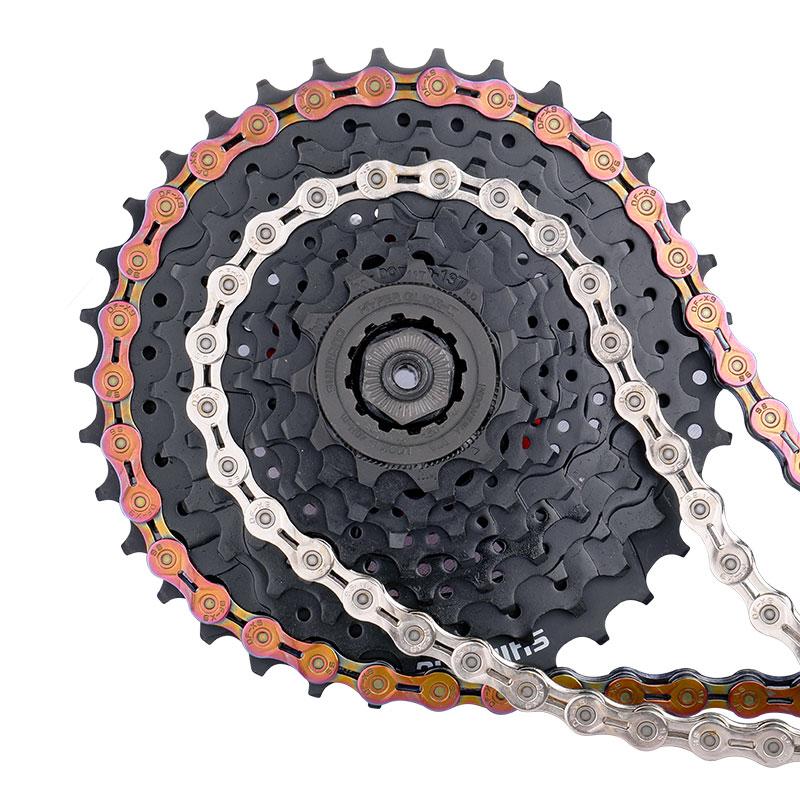 Deemount complet nickelé 9 vitesses chaîne vélo 116 liens 9 S X9 vtt route vélo chaîne pont renforcé haute broche chaîne dalimentation