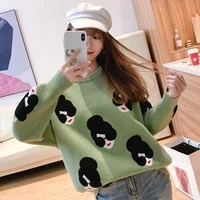 autumn 2002 new womens knitted sweater winter lantern sleeve embroidered cartoon pullover sweater women thick casual sweater