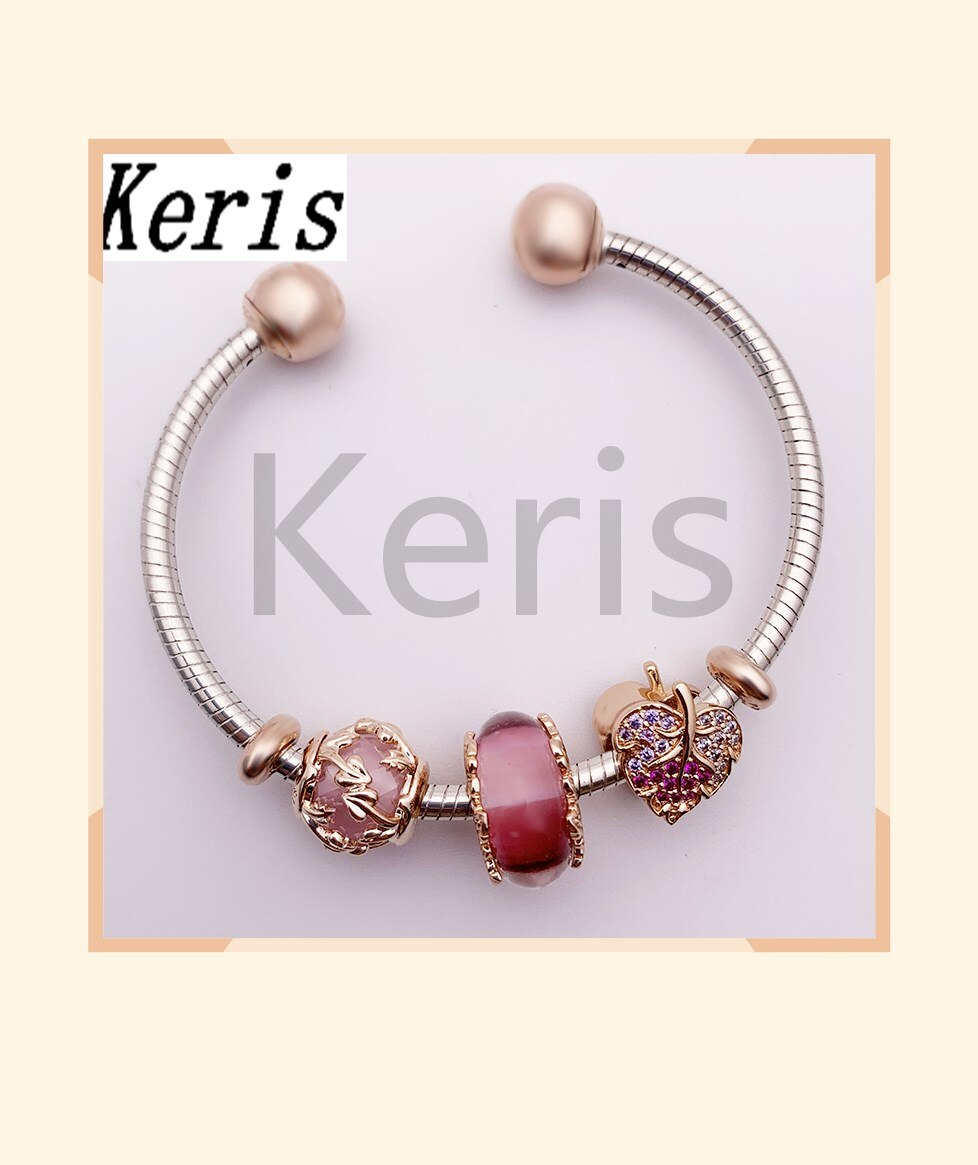 Jóias 100% s925 1 1 floresta magia rosa ouro e rosa esmalte decídua pulseira com abertura pulseira para o presente