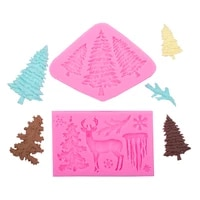 christmas silicone mold 3d christmas treeelksnowflakebellpine shape cake candy chocolate decorating tool kitchen accessories