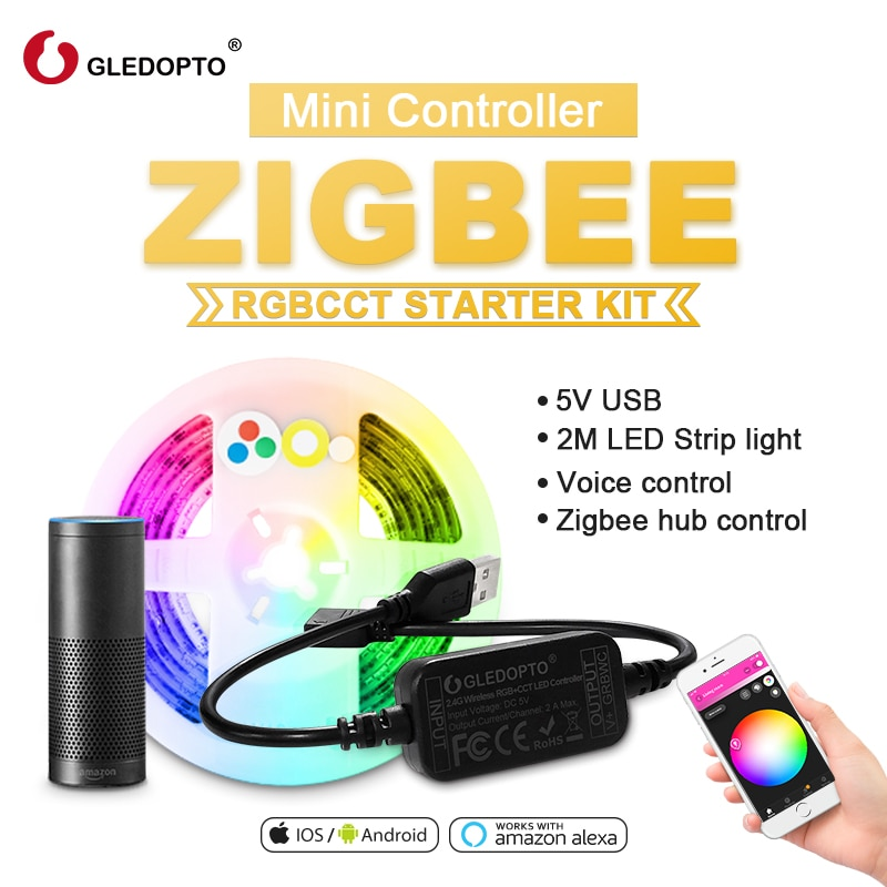 ZIGBEE led rgbcct Controlador mini smart TV tira de luz 5V USB controlador Alexa eco plus control de voz de Control de la aplicación smartthings