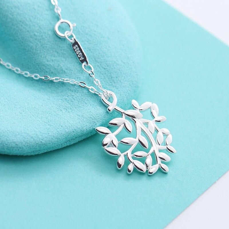 TSHOU273-قلادة من الفضة الإسترليني عيار 925 على شكل فرع ، قلادة على شكل ورقة ، هدية مجوهرات من الفضة الإسترليني ، رابط المشتري