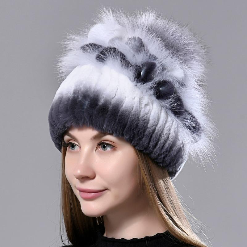 Fur Hat Women Winter Rex Rabbit Fur Knitted Beanies Fluffy Fox Fur Hat inner Woolen skulls Warm Styl