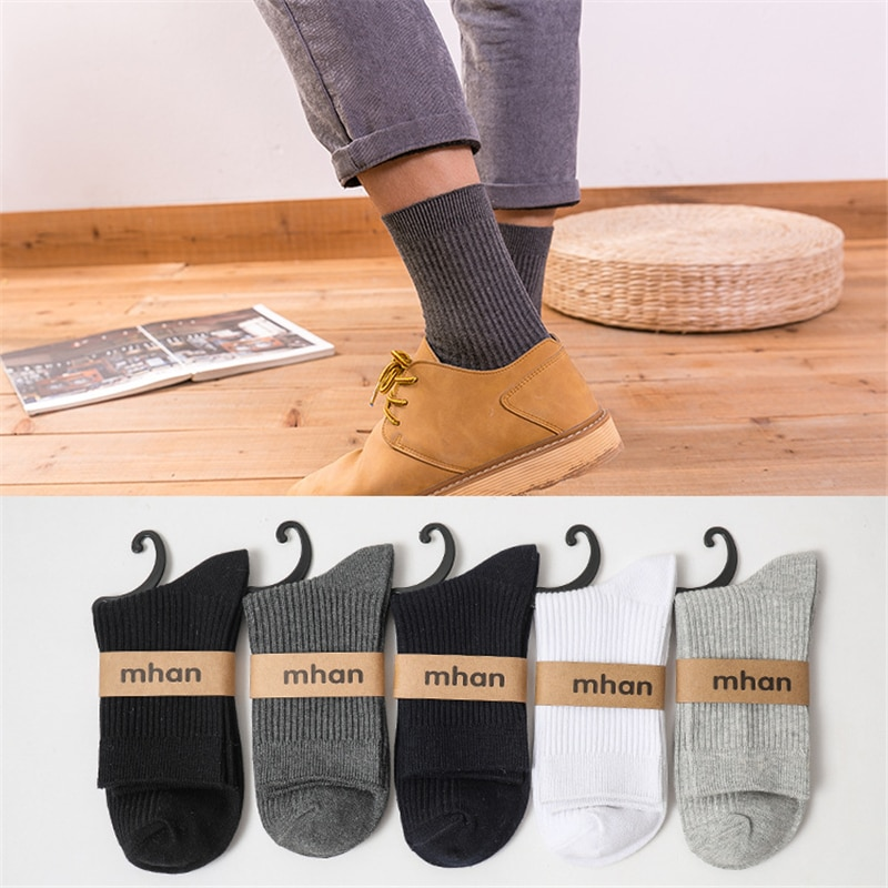 5 Pairs Men's Cotton Socks Middle Tube Double Needle Vertical Bar Autumn Winter Socks Clamping Solid Color Breathable Adult Sox