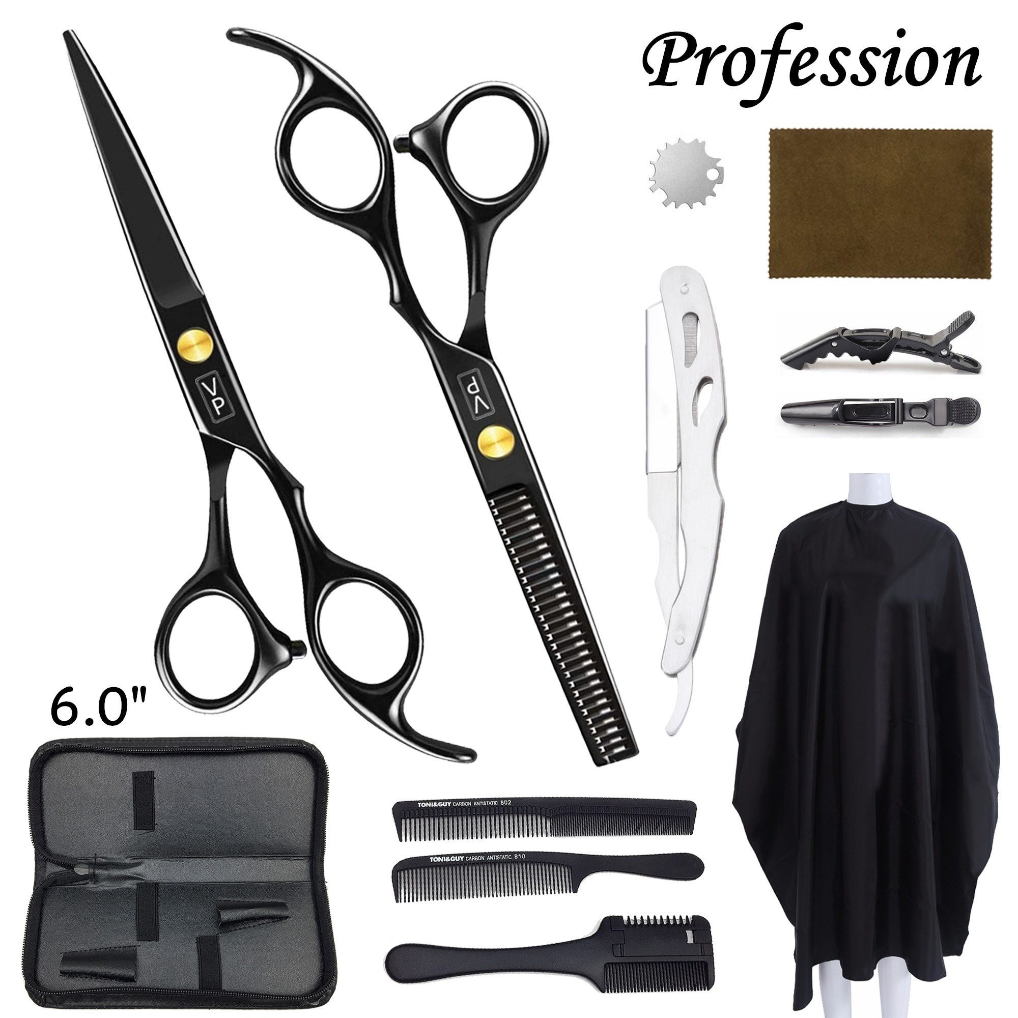 Professional Hairdressing Scissors Kit Hair Scissors Barbershop Barber Scissors Tail Comb Hair Cloak Hair Cut Comb Styling Tool