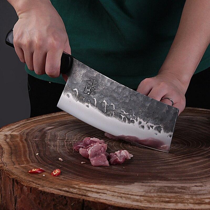 اليد مزورة سكين المطبخ عالية الكربون الصلب اللحوم الساطور المطبخ شارب شريحة سكين المهنية تانغ سكين الأسماك قتل سكين