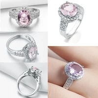 milangirl luxury silver plated color full inlaid white pink crystal rhinestone zircon female ring for women wedding jewelry