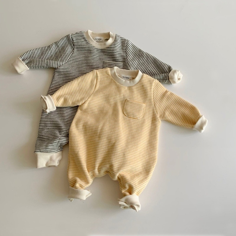 Autumn New Baby Striped Romper 2021 Fashion Long Sleeve Baby Jumpsuit Cotton Boys And Girl Clothes N
