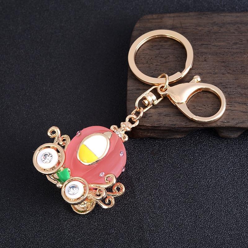 Cartoon Pumpkin Cart Charm Pendant Key Chain Cute Resin Car Key Holder Jewelry Gold Color Metal Key Ring For Children Gift
