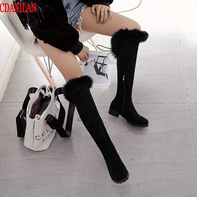 CDAXILAN nuevo a las botas de nieve de invierno de las mujeres calientes piernas de gamuza de tela de conejo de encaje hasta la rodilla botas altas con felpa