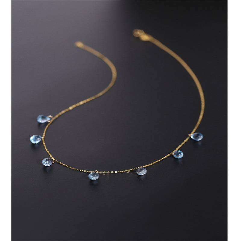 DAIMI السماء الزرقاء توباز قلادة الإناث الأحجار الكريمة حقيقية الأصفر 18K الذهب المرصعة بالنجوم قلادة هدية
