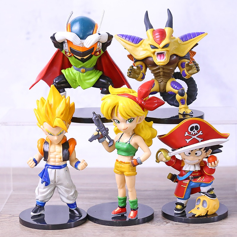 Dragon Ball Z Son Goku Saiyan Masked Superman Lunchi Gogeta Hirudegan Mini PVC Figure Brinquedo Toys 5pcs/set
