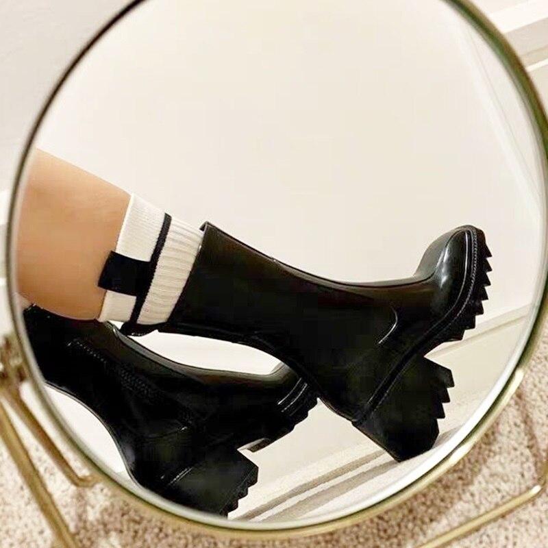 أحذية جلدية مريحة وناعمة من المطاط ، أحذية نسائية عصرية للمطر ، أحذية بكعب عالي للحفلات ، الخريف والصيف