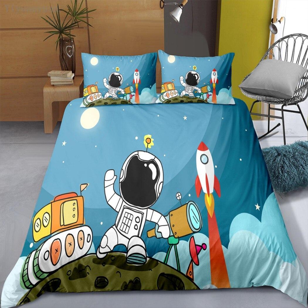 Astronaut Planet 3D Print Duvet Cover Pillowcase Kids Bedding Sets Queen and King Size 2/3 Pcs Comforter Cover Print On Demand
