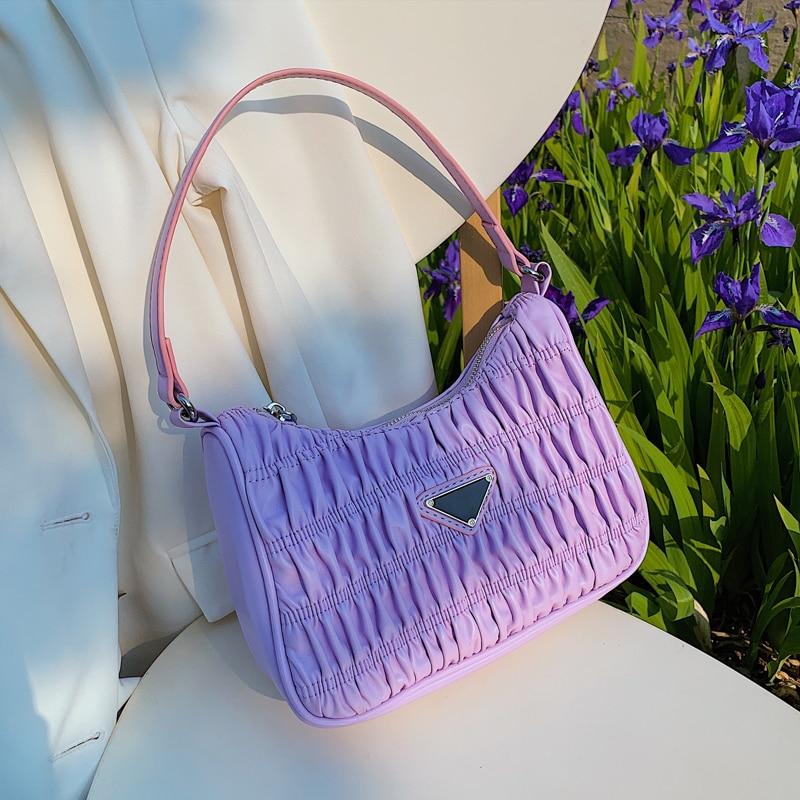 2021 Luxury Tote Bags For Women Candy Color Summer Underarm Bag Nylon Purses And Handbag Retro Shoulder Bag Pleated Female Bolsa