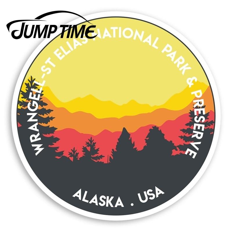 Pegatinas de vinilo de Jump Time Wrangell St Elias, pegatina de parachoques...