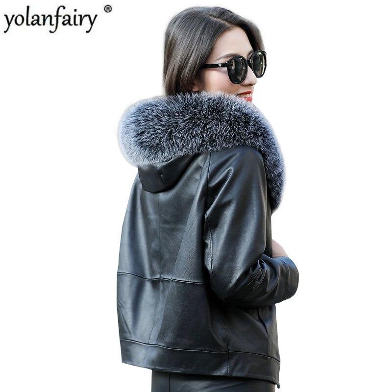 Chaqueta de cuero genuino, chaqueta de invierno para Mujer, Abrigo de pelo auténtico de oveja, chaquetas de plumón coreanas, Abrigo para Mujer, ZM-1803 MY1964