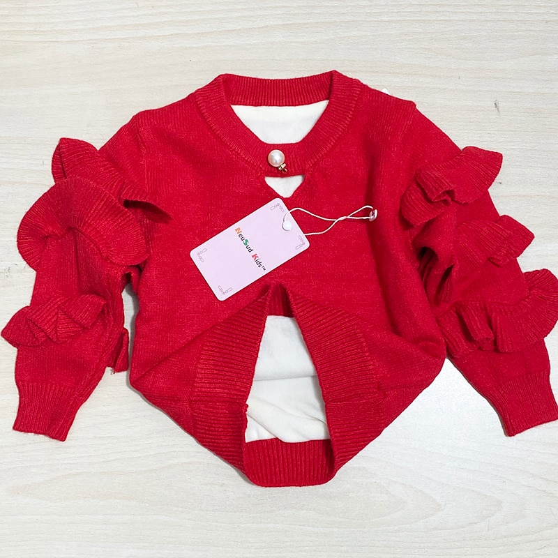 New 2020 Autumn Baby Sweaters Winter Kids Knit Infant Sweater Children Ruffles Sleeve Sweaters Girls Basic Sweaters,12M-5Y,#2376