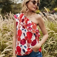 skew collar ruffle patchwork floral print sleeveless off shoulder sexy t shirt women casual loose streetwear plus size tops