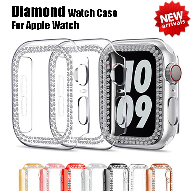 cartoon style protective frame bumper anti scratch case for iwatch 5 4 3 2 1 tpu cover full case for apple watch 44 40 42 38mm Diamond Protective Case for Apple Watch Cover 6 SE 5 4 3 2 1 38MM 42MM Anti-scratch Bumper Cases For iwatch 6 5 4 40mm 44mm