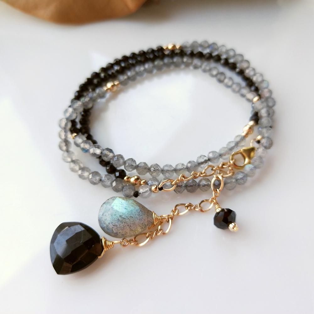 Lii Ji Genuine Natural Labradorite Black Spinel Drop Charm Sparkling Beads US 9K GF Chain Delicated Handmade Necklace 45+6cm