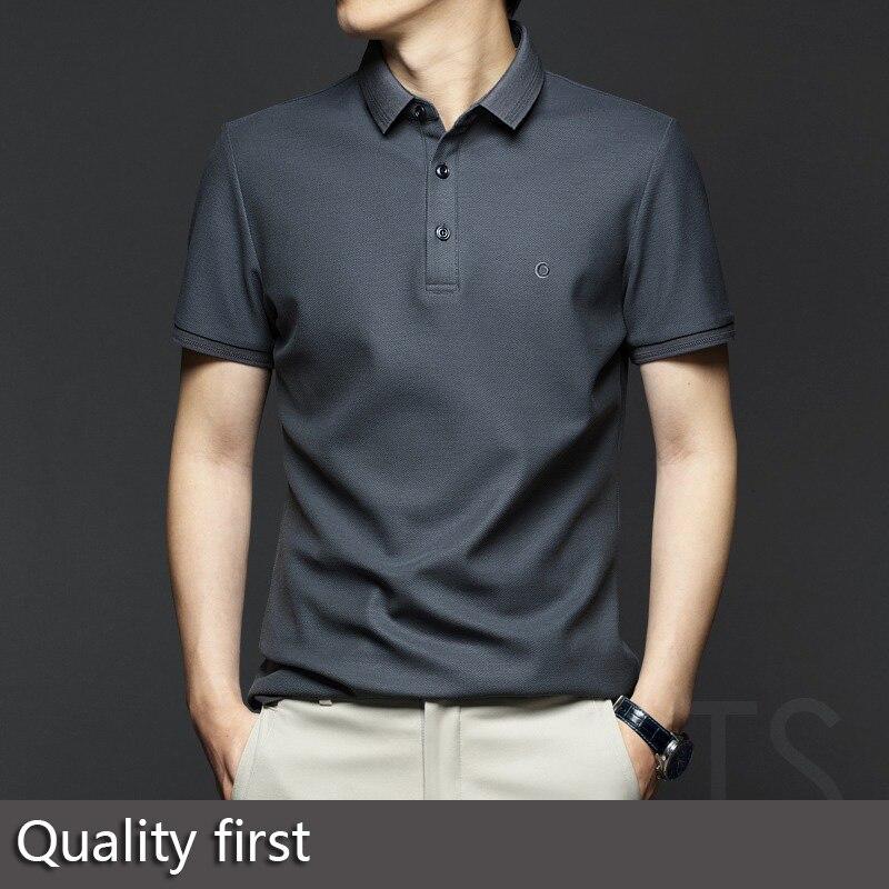 Summer men's lapel short-sleeved T-shirt mercerized cotton pure cotton high-end POLO shirt business middle-aged men's 2021 new