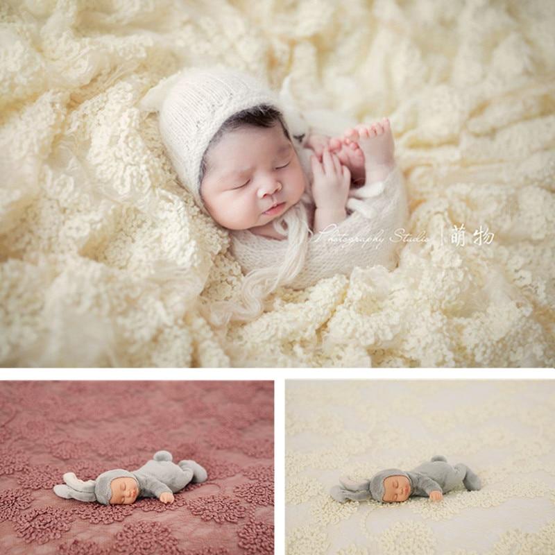 Newborn Photography Props Background 145x150cm 3D Flower Lace Blanket Pillow Set Baby Girl Photo Flokati Fotografie Accessoires