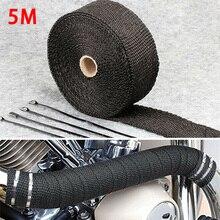 5M rolka z włókna szklanego osłona termiczna samochód motocykl kolektor wydechowy izolacja cieplna włókno szklane termiczna taśma do owijania czarny + 4 krawaty zestaw