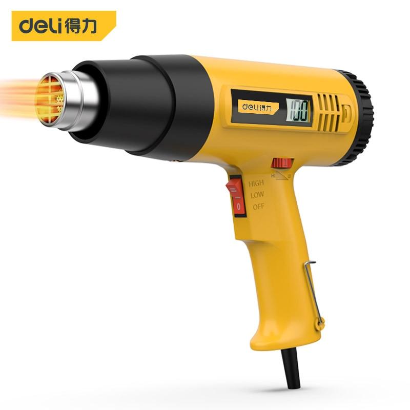 Deli DL391160 Hot Air Gun HD Digital Display Temperature Control Adhesives Shrink PVC Film Car Film Thaw Water Pipe Power Tools