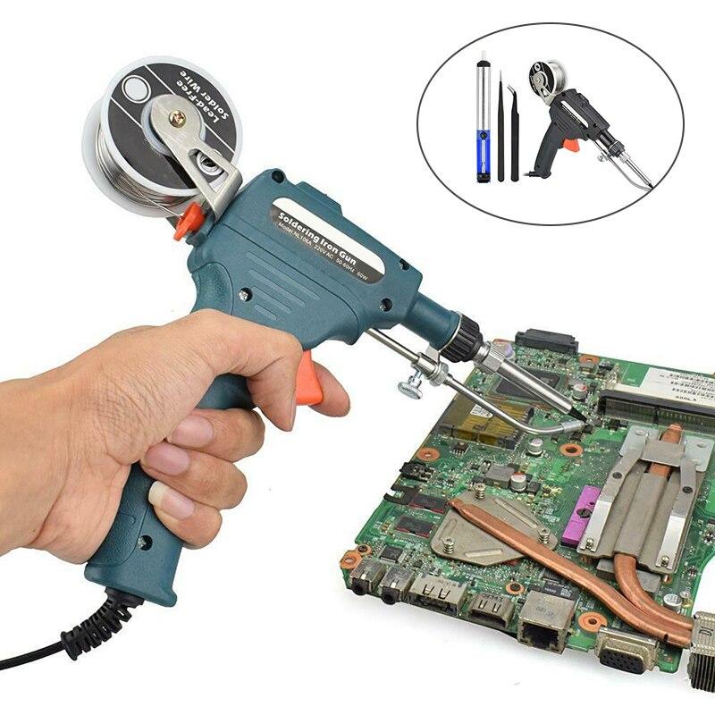 ¡Oferta! Herramienta de soldadura de alimentación automática, conjunto de soldador eléctrico Manual, estaño de soldadura D6