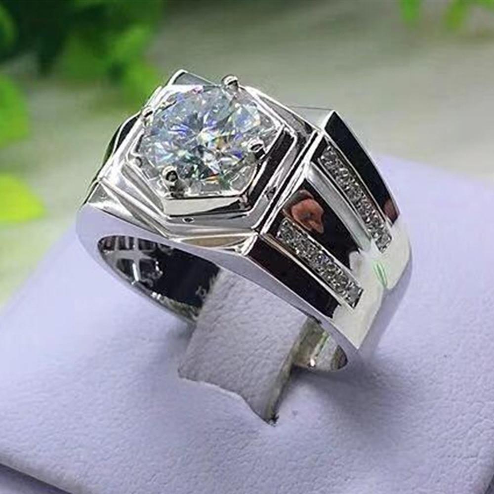 Luxo brilhante glamour senhoras anel natural branco zircônia cúbica birthstone anel anel de casamento festa masculino jóias 7 8 9 10 11 12