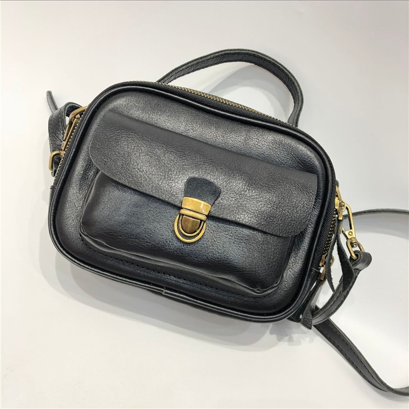 حقائب يد جلدية يدوية المرأة أكياس صغيرة جلد البقر الطبيعي الكتف حقيبة كروسبودي الإناث Vintage جلد طبيعي حقيبة ساعي