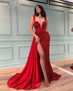Sexy Long Red Sequins Evening Dress For Women 2021 High Slit Sweetheart Dubai Vestidos Gala Sexy Robes Party Prom Gowns