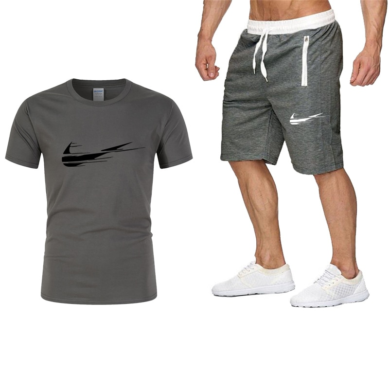 2021 Hot Pure Cotton Sale Printed T-Shirt Sports Suit Quick-Drying Casual Running Wear Summer Short-