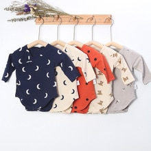 Baby Long Sleeve Printed Jumpsuit For Boys And Girls Cotton Printed 0-2 Year Old Triangular Climbing