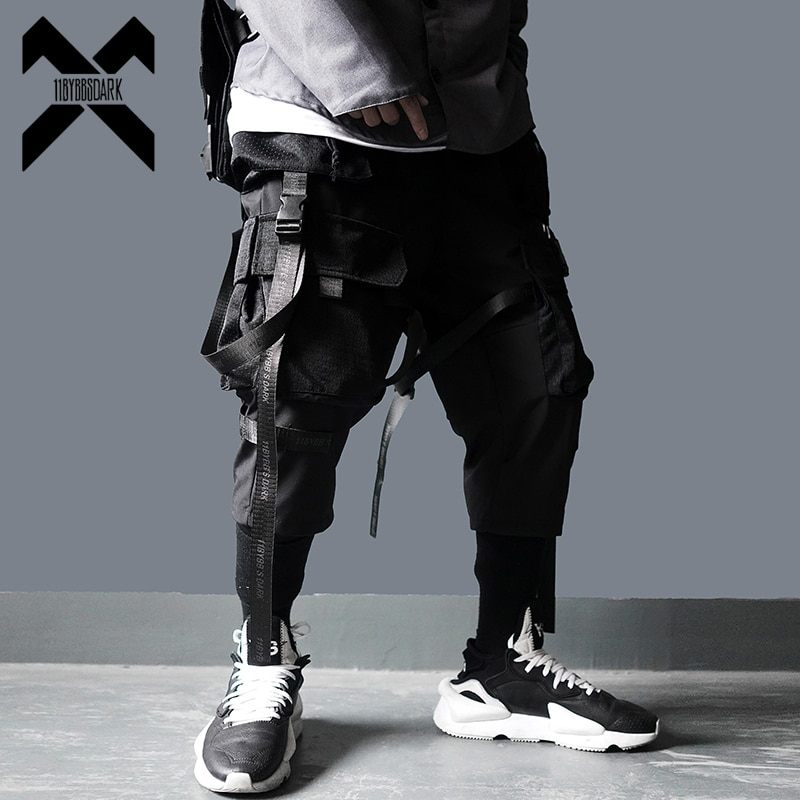 11 bybbs escuro calças de carga homem harajuku streetwear táticas calças fita multi-bolso elástico cintura hiphop masculino dg29